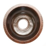 Premier Copper Products 14'' x 14'' Round Hammered Copper Bar Sink; 3.5''