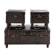 Woodland Imports Timeless 3 Piece Wood / Leather Trunk Set