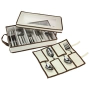 Household Essentials Flatware Organizer with Trim Top Window and Pouch