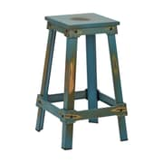 OSP Designs New Castle 26'' Bar Stool; Antique Turquoise