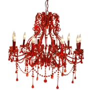 Pangea Home Isabella 10 Light Crystal Chandelier; Red