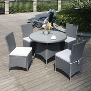 Handy Living Azura 5 Piece Dining Set with Cushions; Gray