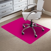 ES Robbins TrendSetter Rectangle Flat to Low Pile Carpet Straight Edge Chair Mat; Pink