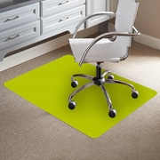 ES Robbins TrendSetter Rectangle Flat to Low Pile Carpet Straight Edge Chair Mat; Green