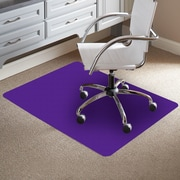 ES Robbins TrendSetter Rectangle Flat to Low Pile Carpet Straight Edge Chair Mat; Purple