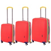 Travelers Polo & Racquet Club Get Away 3 Piece Luggage Set; Red