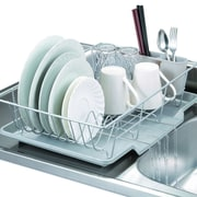 Sweet Home Collection 3 Piece Dish Drainer Set; Silver