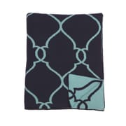 ZallZo Lattice Reversible Cotton Throw; Navy Blue