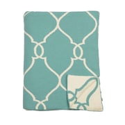ZallZo Lattice Reversible Cotton Throw; Beach Blue