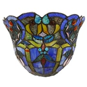 River of Goods Webbed Heart Tiffany Style Stained Glass Wireless LED Wall Sconce; Blue