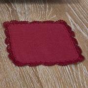 Saro Crochet Lace Coaster (Set of 4); Cranberry