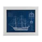 Bassett Mirror Antique Ship Blueprint IV Framed Graphic Art
