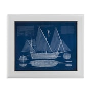 Bassett Mirror Antique Ship Blueprint III Framed Graphic Art