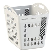 United Solutions 1.5 Bushel Hands Free Laundry Tote with Checked Straps; White