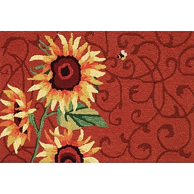 Homefires Red Sunflower and Bee Rug