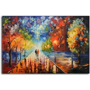 Omax Decor 'Misty Glow in the Moonlight' Original Painting on Canvas
