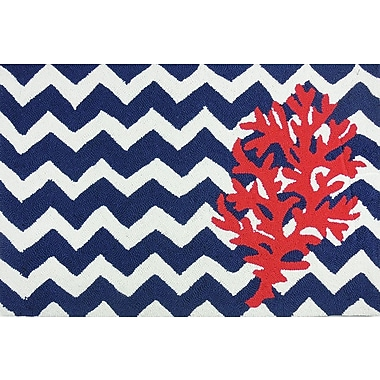 Homefires Chevron And Coral Area Rug