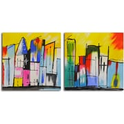Omax Decor 'House of a Different Color' 2 Piece Original Painting on Canvas Set