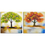 Omax Decor 'Spring Tree and Autumn Leaves' 2 Piece Original Painting on Canvas Set