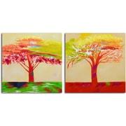 Omax Decor 'Tree of Sunset' 2 Piece Original Painting on Canvas Set