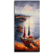 Omax Decor 'Sailboats at Rest' Original Painting on Canvas