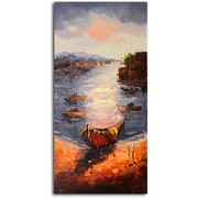 Omax Decor 'A View from the Shore' Original Painting on Canvas