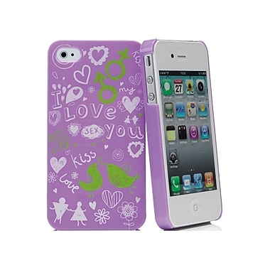 Muvit iPhone 4/4S I love You Doodle Case, Purple/White