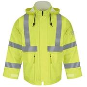 Bulwark Men's Hi-Visibility Flame-Resistant Rain Jacket HRC2 RG x 5XL, Yellow/ green