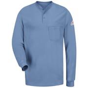 Bulwark Men's Long Sleeve Tagless Henley Shirt - EXCEL FR RG x XXL, Light blue
