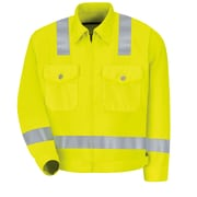 "Red Kap  Men's Hi-Visibility Ike Jacket - Class 3 Level 2 X"" Striping Configuration"" LN x 50, Fluorescent Yellow & Green"