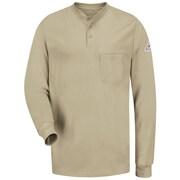 Bulwark Men's Long Sleeve Tagless Henley Shirt - EXCEL FR LN x XXL, Khaki