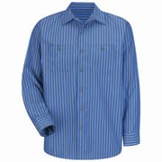 Red Kap Men's Industrial Stripe Work Shirt XLN x L, Grey / blue stripe