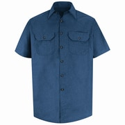 Red Kap Men's Heathered Poplin Uniform Shirt SS x L, Navy