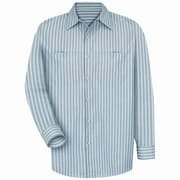 Red Kap Men's Industrial Stripe Work Shirt RG x 4XL, Green / khaki stripe