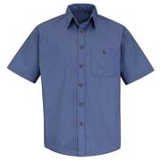 Red Kap Men's Mini-Plaid Uniform Shirt SS x L, Grey / blue