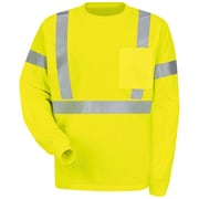 Red Kap  Men's Hi-Visibility Long Sleeve T-Shirt RG x S, Fluorescent Yellow & Green