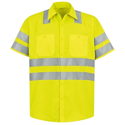 Red Kap Men s Hi Visibility Work Shirt Class 3 Level 2 SS x XXL Fluorescent Yellow Green