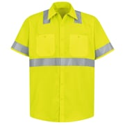 Red Kap Men's Hi-Visibility Work Shirt - Class 2 Level 2 SSL x XL, Fluorescent Yellow & Green