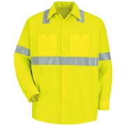 Red Kap Men's Hi-Visibility Work Shirt - Class 2 Level 2 LN x L, Fluorescent Yellow & Green