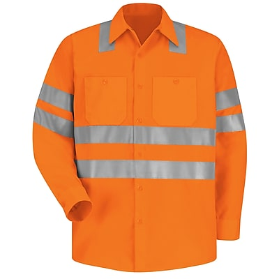 Red Kap Men s Hi Visibility Work Shirt Class 3 Level 2 X Striping Configuration RG x M Fluorescent orange