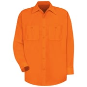 Red Kap  Men's Enhanced Visibility Work Shirt LN x XL, Fluorescent orange