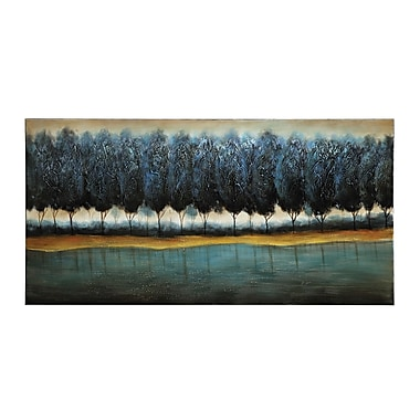 Wildon Home Tranquil Blue Forest Original Painting