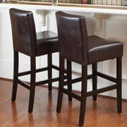 Home Loft Concepts Bonded 26'' Bar Stool with Cushion (Set of 2); Brown
