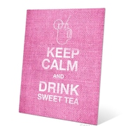 Click Wall Art Keep Calm And Drink Sweet Tea Textual Art Plaque in Pink; 20'' H x 16'' W x 0.04'' D