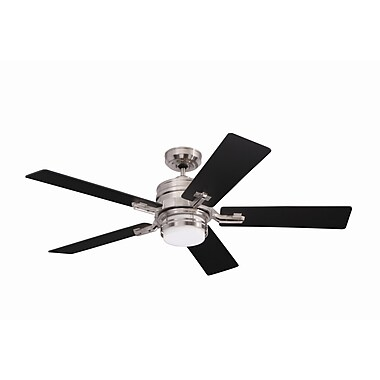 Emerson Fans 54'' Transitional Amhurst 5 Blade Ceiling Fan; Brushed Steel with Dark Cherry Blades