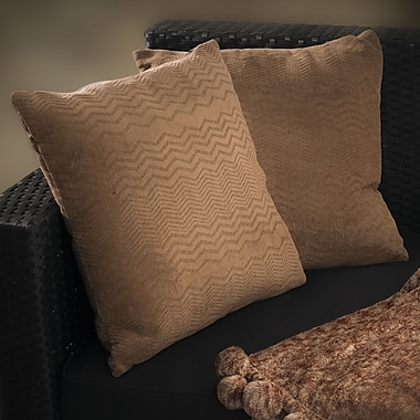 Home Loft Concepts Evelyn Jacquard Throw Pillow (Set of 2); Brown