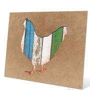 Click Wall Art Colored Wood Textured Chicken Painting Print Plaque; 16'' H x 20'' W x 0.04'' D
