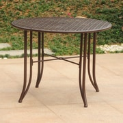 International Caravan Mandalay Iron 39'' Round Patio Dining Table; Matte Brown