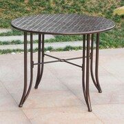 International Caravan Mandalay Iron 39'' Round Patio Dining Table; Bronze