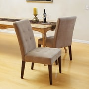 Home Loft Concepts Talib Tufted Leather Dining Chair (Set of 2); Cream